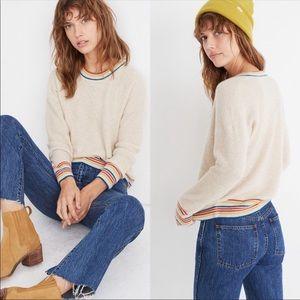 Madewell cashmere sweater with rainbow trim